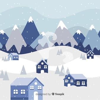 Fondo de paisaje de invierno en diseño plano
