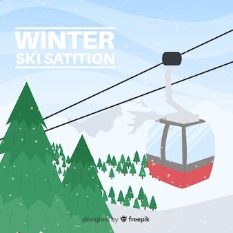 Fondo paisaje invierno funicular