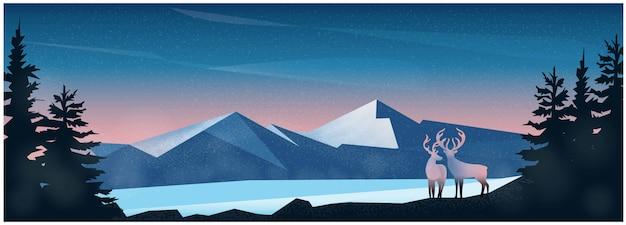 Fondo de paisaje de invierno de naturaleza con montaña y ciervos