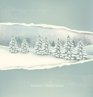 Fondo de paisaje de invierno de navidad.
