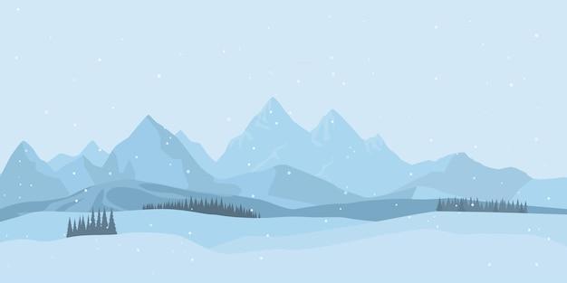 Fondo de paisaje de invierno con nieve.