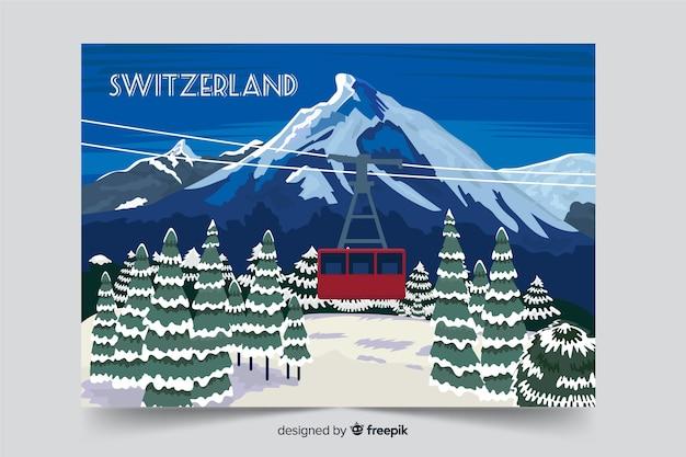 Fondo de paisaje de invierno de suiza