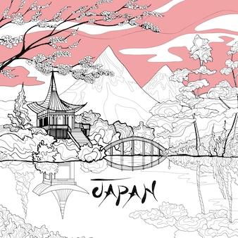Fondo de paisaje de japón