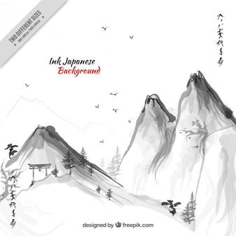 Fondo de paisaje japonés montañoso de acuarela