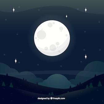Fondo de paisaje con luna llena