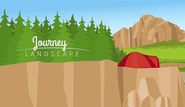 Fondo de paisaje de montaña y bosque