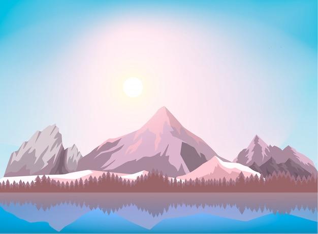Fondo de paisaje de montaña de naturaleza