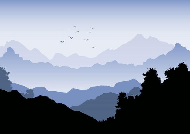 Fondo de paisaje con montañas y bandada de pájaros.