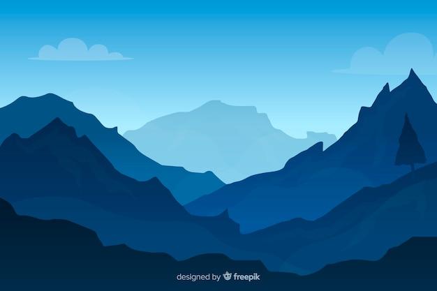 Fondo de paisaje de montañas gradiente azul