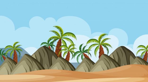 Fondo de paisaje de montañas y playa