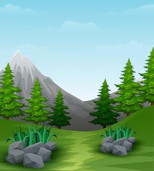 Fondo de paisaje con montañas