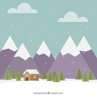 Fondo de paisaje montañoso con cabaña en diseño plano
