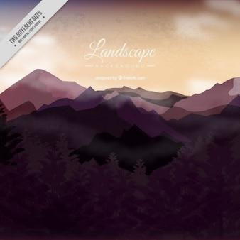 Fondo de paisaje montañoso en estilo realista