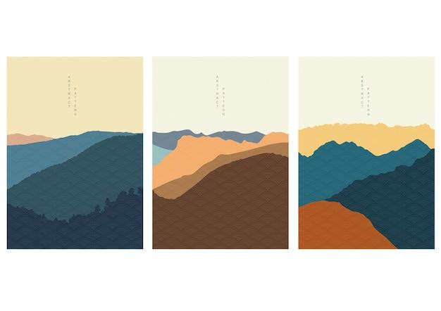 Fondo de paisaje natural con patrón japonés. plantilla de bosque de montaña con elementos geométricos. papel pintado de artes abstractas.