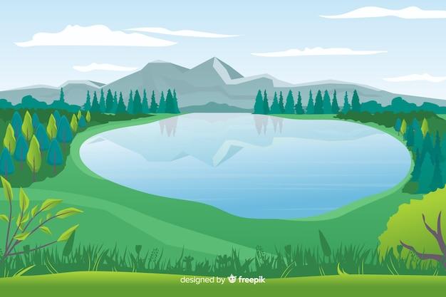 Fondo de paisaje de naturaleza en diseño plano