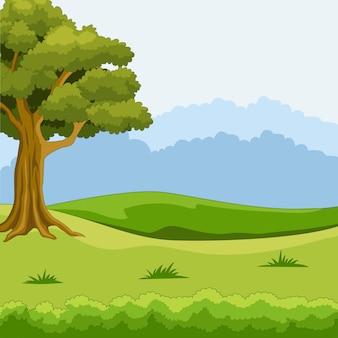 Fondo de paisaje de naturaleza con hierba verde y árboles