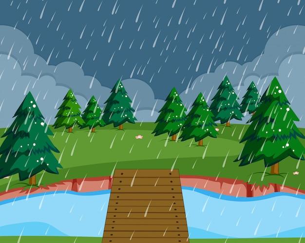 Fondo de paisaje de naturaleza lloviendo plana