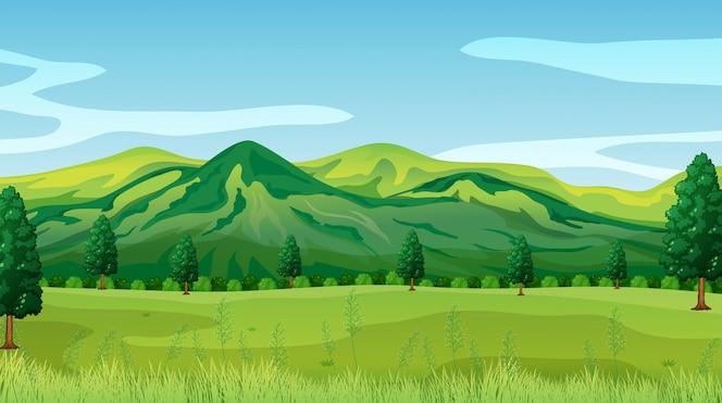 Un fondo de paisaje de naturaleza verde