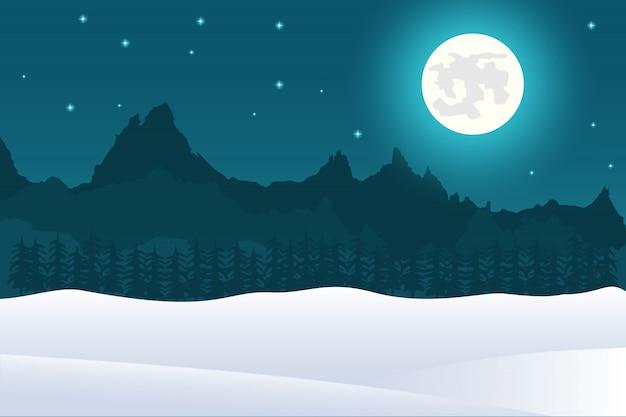 Fondo de paisaje de navidad de luna llena y montañas