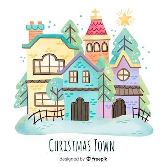Fondo con paisaje navideño en acuarela