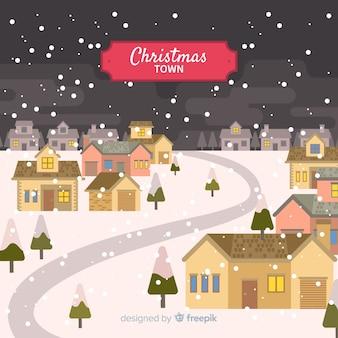 Fondo con paisaje navideño en diseño plano
