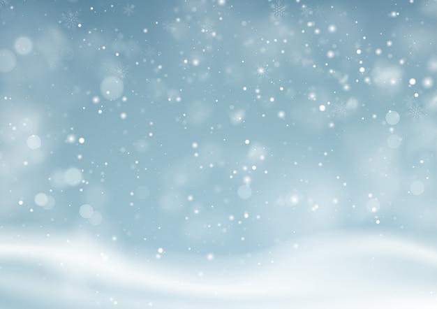 Fondo de paisaje nevado de invierno de navidad. fondo de polvo de nieve de invierno.