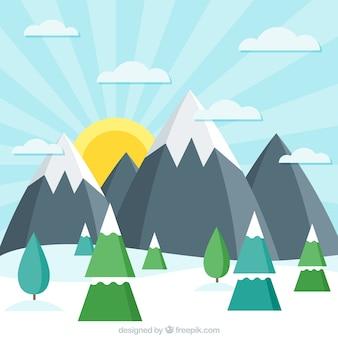 Fondo de paisaje nevado soleado