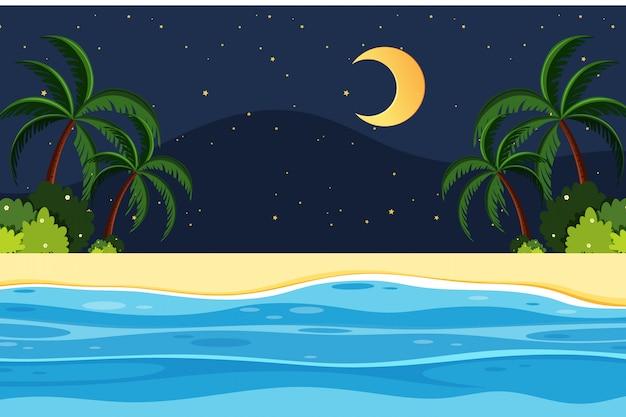 Fondo de paisaje con noche en la playa
