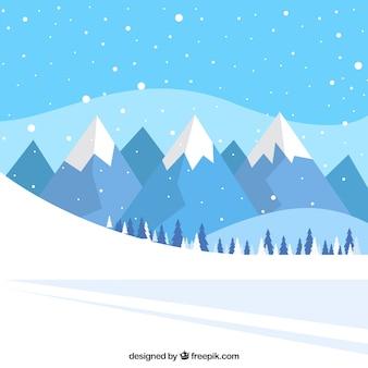 Fondo de paisaje de pista de nieve y montañas