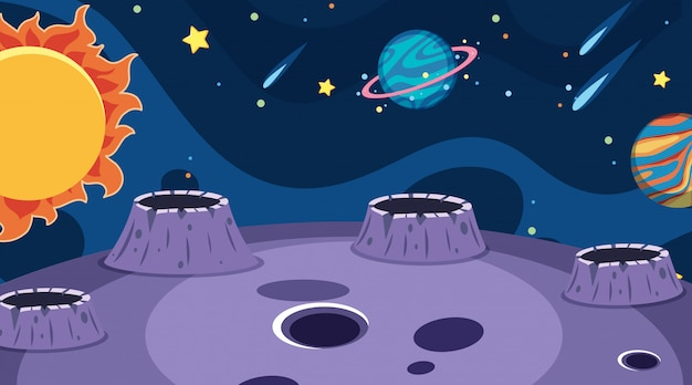 Fondo de paisaje con planetas en el espacio oscuro