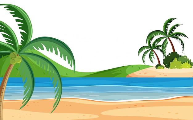 Fondo de paisaje con playa y árboles
