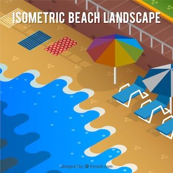 Fondo de paisaje de playa en estilo isométrico