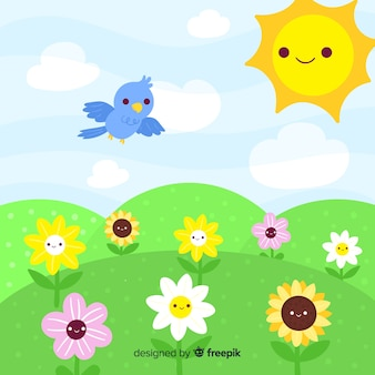 Fondo paisaje primavera adorable