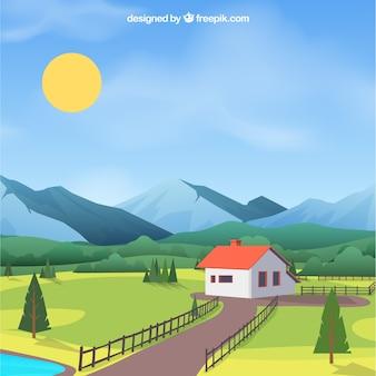 Fondo de paisaje de primavera con casa