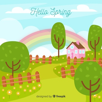 Fondo paisaje primavera dibujado a mano