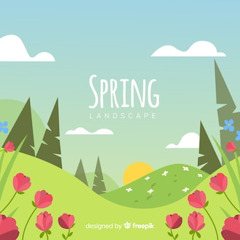 Fondo de paisaje de primavera en diseño plano