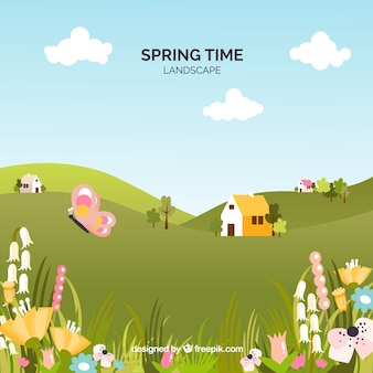 Fondo de paisaje de primavera en estilo plano