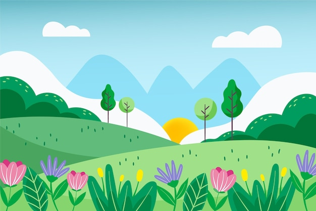 Fondo de paisaje de primavera hermosa dibujada