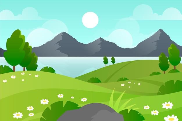 Fondo de paisaje de primavera hermosa