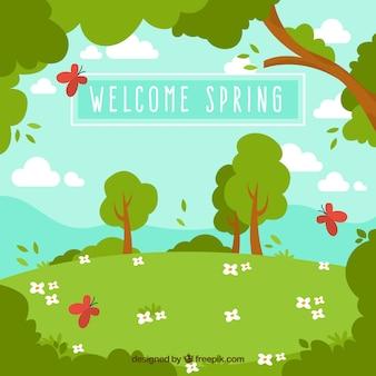 Fondo de paisaje primaveral con árboles y mariposas