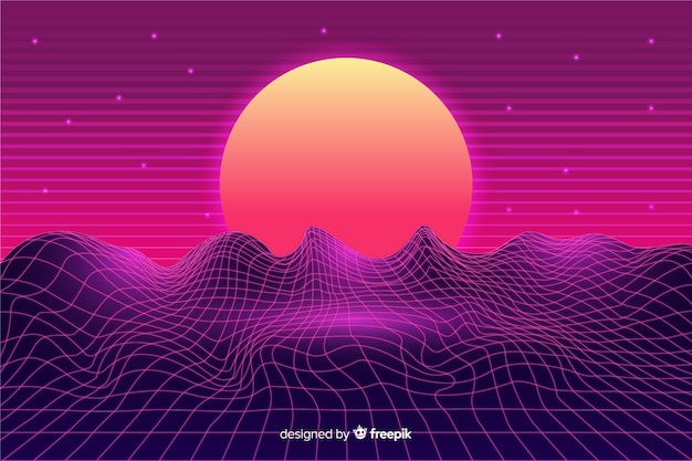 Fondo con paisaje retro futurista de ciencia ficción, color morado