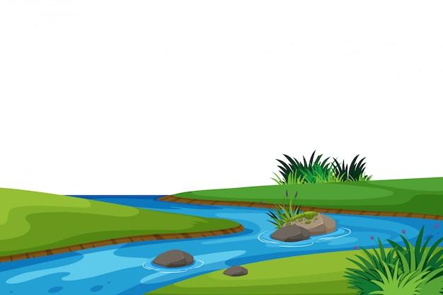 Fondo de paisaje con río y campo verde