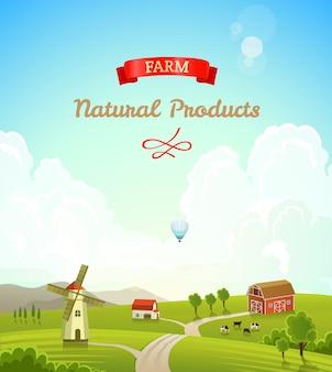 Fondo de paisaje rural de granja. concepto de productos frescos y naturales.