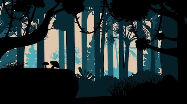 Fondo de paisaje de selva de silueta