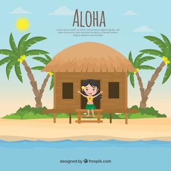 Fondo de paisaje tropical con chica en una cabaña