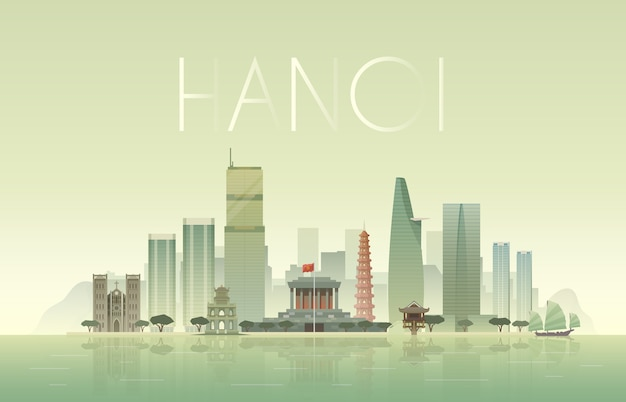 Fondo del paisaje urbano de hanoi