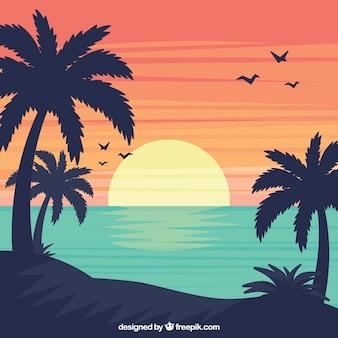 Fondo de paisaje de verano en diseño plano