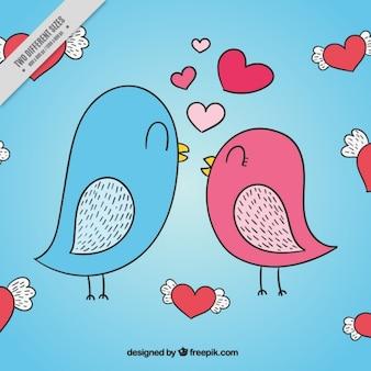Fondo de pájaros con corazones dibujados a mano