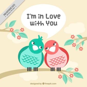 Fondo de pájaros enamorados juntos