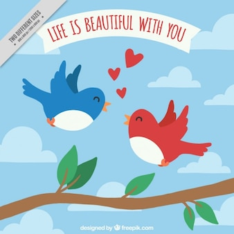 Fondo de pájaros enamorados